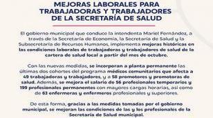 Mejoras laborales para trabajadoras y trabajadores de la Secretaría de Salud