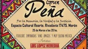 Se viene Peña Folklórica por la Memoria, la Verdad y la Justicia