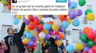 """El intendente, en lo importante: """"Ganó el matador; cómo te quiero San Lorenzo la puta madre!!!"""""""