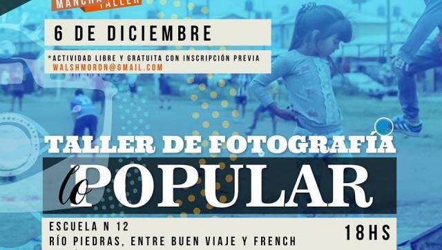Este miércoles, gratis, Taller de Fotografía Popular en Morón