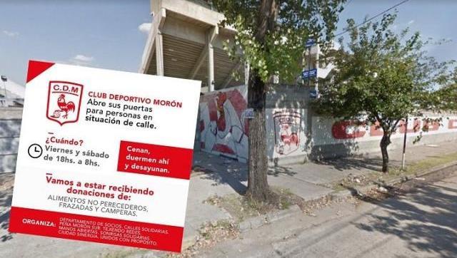 Ante el abandono del municipio, Deportivo Morón abre sus puertas a las personas en situación de calle