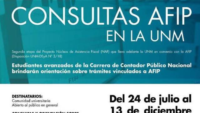 Hoy comienzan las consultas de AFIP en la UNM