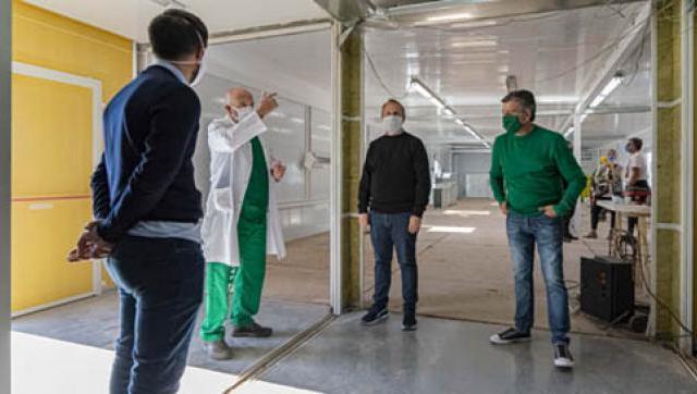 Zabaleta y Valenzuela recorrieron las obras de los Hospitales Modulares de Emergencia de Hurlingham y Tres de Febrero
