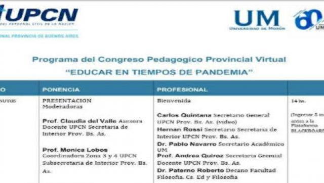 Primer congreso pedagógico pronvincial virtual