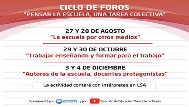 Ciclo de foros virtuales destinado a docentes del distrito