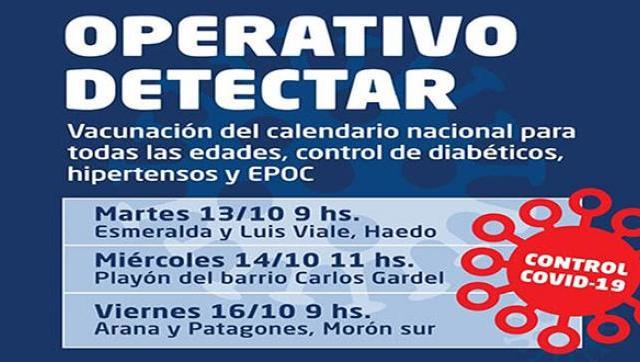 Morón realizará operativos de Detección Temprana en Haedo, Morón sur y El Palomar.