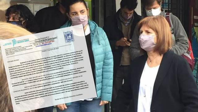 """La comunidad educativa de la Escuela Nº 7 repudió la """"visita"""" de Patricia Bullrich"""